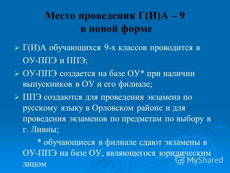 Место проведения Г(И)А – 9 в новой форме Г(И)А обучающихся 9-х классов проводится в ОУ-ППЭ и ППЭ; ОУ-ППЭ создается на базе ОУ* при наличии выпускников в ОУ и его филиале; ППЭ создаются для проведения экзамена по русскому языку в Орловском районе и дл