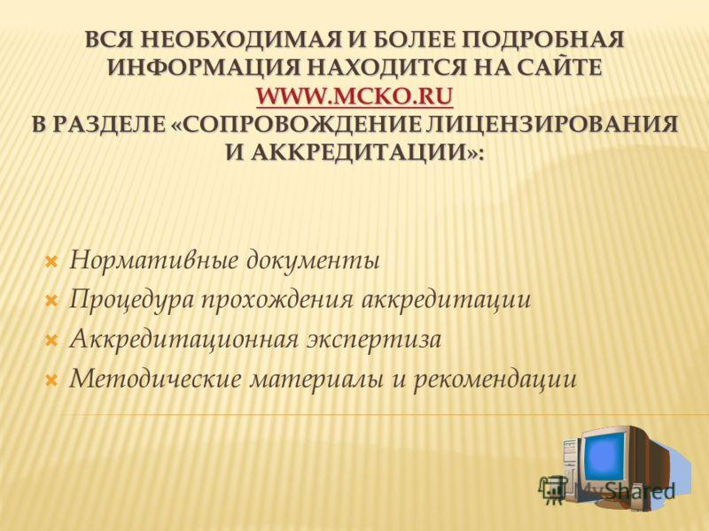 Нормативные документы Процедура прохождения аккредитации Аккредитационная экспертиза Методические материалы и рекомендации