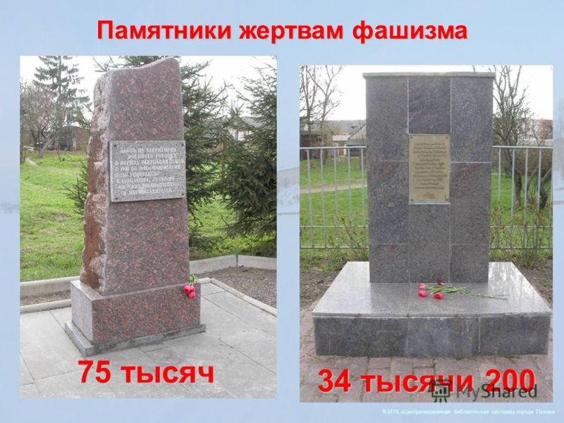 © МУК «Централизованная библиотечная система» города Пскова 75 тысяч 34 тысячи 200 Памятники жертвам фашизма
