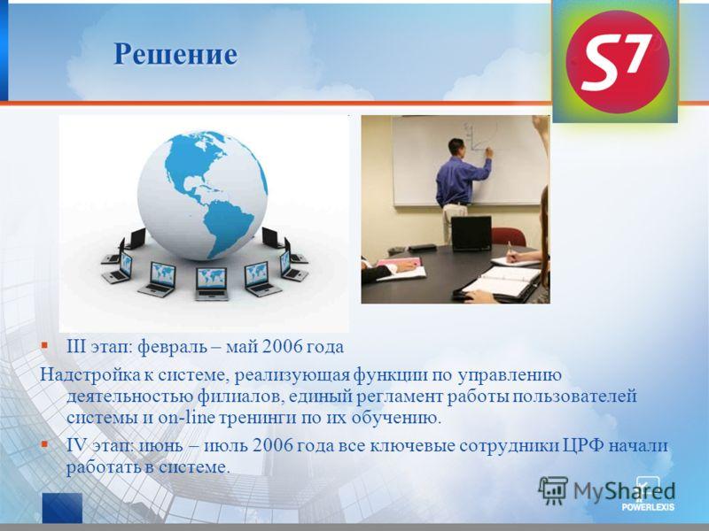Решение III этап: февраль – май 2006 года Надстройка к системе, реализующая функции по управлению деятельностью филиалов, единый регламент работы пользователей системы и on-line тренинги по их обучению. IV этап: июнь – июль 2006 года все ключевые сот