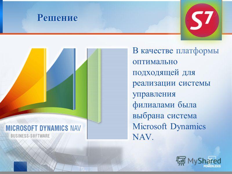 Решение В качестве платформы оптимально подходящей для реализации системы управления филиалами была выбрана система Microsoft Dynamics NAV.