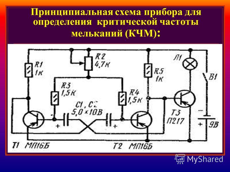 Принципиальная схема прибора для определения критической частоты мельканий (КЧМ) :