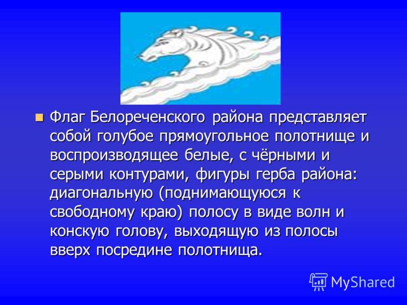 Флаг Белореченского района представляет собой голубое прямоугольное полотнище и воспроизводящее белые, с чёрными и серыми контурами, фигуры герба района: диагональную (поднимающуюся к свободному краю) полосу в виде волн и конскую голову, выходящую из