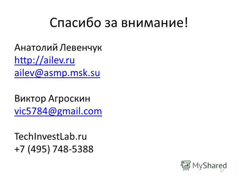 Спасибо за внимание! Анатолий Левенчук http://ailev.ru ailev@asmp.msk.su Виктор Агроскин vic5784@gmail.com TechInvestLab.ru +7 (495) 748-5388 17