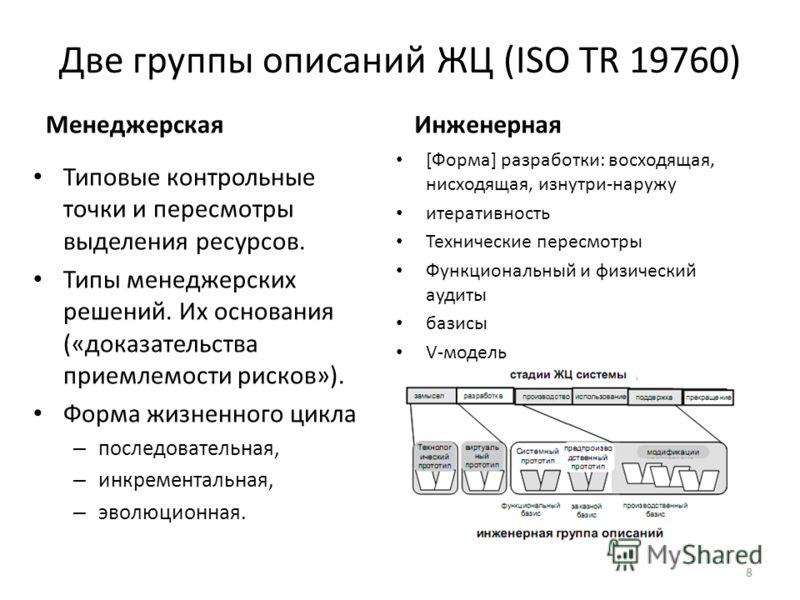 Две группы описаний ЖЦ (ISO TR 19760) Менеджерская Типовые контрольные точки и пересмотры выделения ресурсов. Типы менеджерских решений. Их основания («доказательства приемлемости рисков»). Форма жизненного цикла – последовательная, – инкрементальная