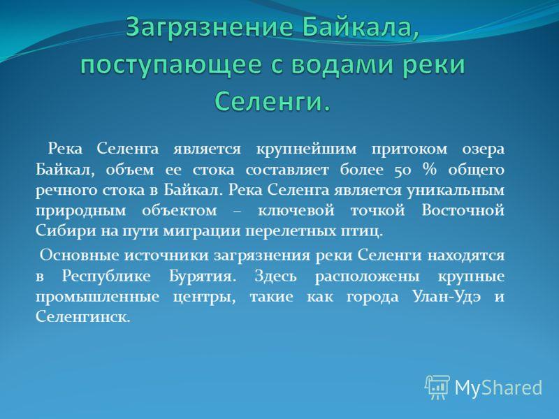 Река Селенга является крупнейшим притоком озера Байкал, объем ее стока составляет более 50 % общего речного стока в Байкал. Река Селенга является уникальным природным объектом – ключевой точкой Восточной Сибири на пути миграции перелетных птиц. Основ