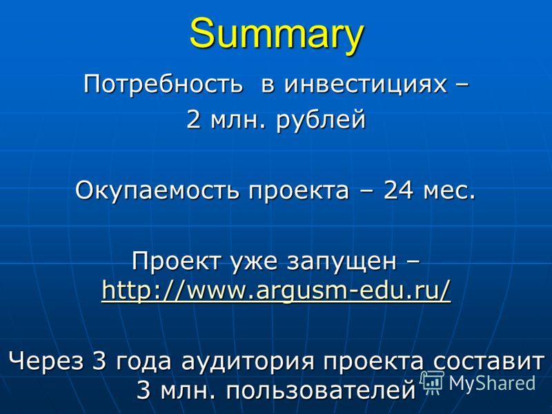 Summary Потребность в инвестициях – 2 млн. рублей Окупаемость проекта – 24 мес. Проект уже запущен – http://www.argusm-edu.ru/ http://www.argusm-edu.ru/ Через 3 года аудитория проекта составит 3 млн. пользователей