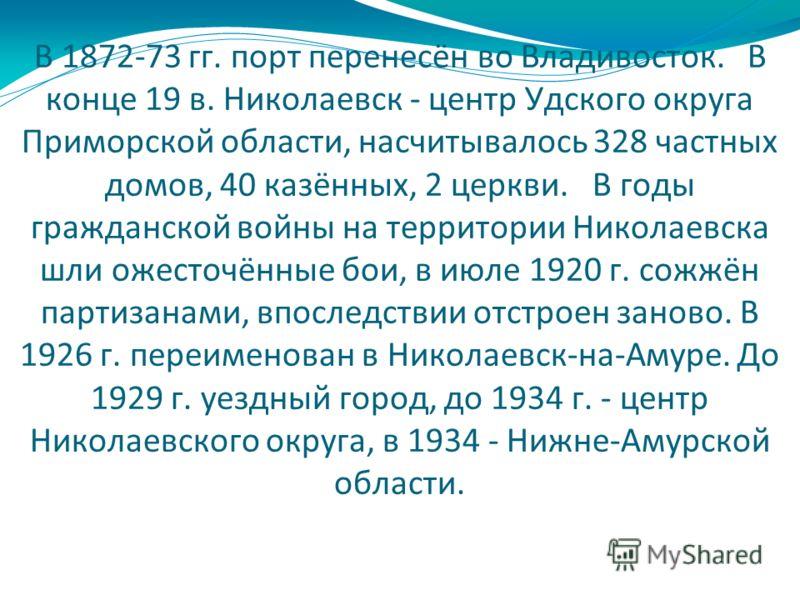 В 1872-73 гг. порт перенесён во Владивосток. В конце 19 в. Николаевск - центр Удского округа Приморской области, насчитывалось 328 частных домов, 40 казённых, 2 церкви. В годы гражданской войны на территории Николаевска шли ожесточённые бои, в июле 1