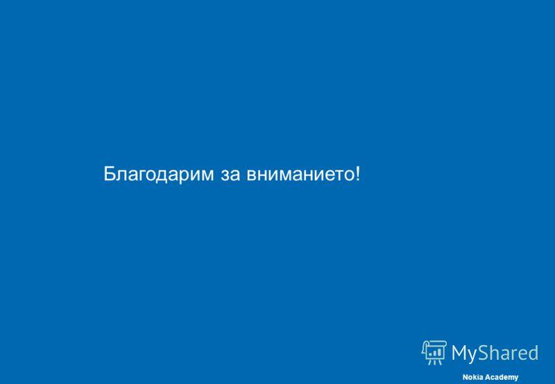 Nokia Academy Благодарим за вниманието!Б