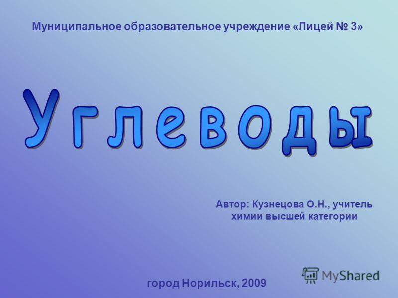 Муниципальное образовательное учреждение «Лицей 3» Автор: Кузнецова О.Н., учитель химии высшей категории город Норильск, 2009