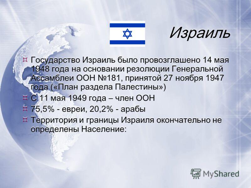 Израиль Государство Израиль было провозглашено 14 мая 1948 года на основании резолюции Генеральной Ассамблеи ООН 181, принятой 27 ноября 1947 года («План раздела Палестины») С 11 мая 1949 года – член ООН 75,5% - евреи, 20,2% - арабы Территория и гран
