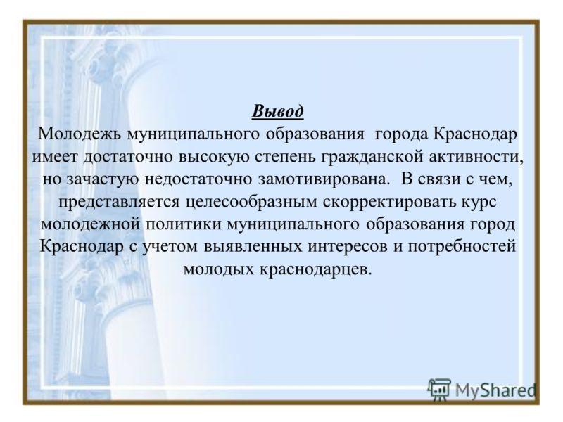 Вывод Молодежь муниципального образования города Краснодар имеет достаточно высокую степень гражданской активности, но зачастую недостаточно замотивирована. В связи с чем, представляется целесообразным скорректировать курс молодежной политики муницип
