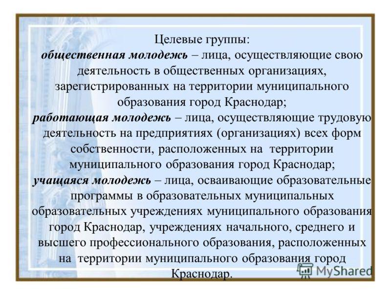 Целевые группы: общественная молодежь – лица, осуществляющие свою деятельность в общественных организациях, зарегистрированных на территории муниципального образования город Краснодар; работающая молодежь – лица, осуществляющие трудовую деятельность