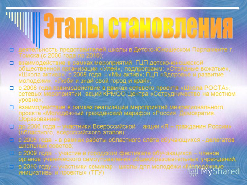 деятельность представителей школы в Детско-Юношеском Парламенте г. Томска (с 2006 года по 2010); взаимодействие в рамках мероприятий ГЦП детско-юношеской общественной организации «Улей», подпрограмм: «Отрядные вожатые», «Школа актива»; с 2008 года -