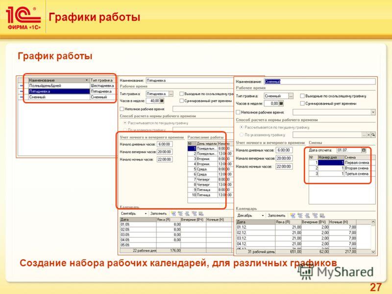 27 Графики работы График работы Создание набора рабочих календарей, для различных графиков