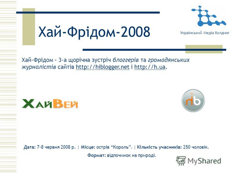 Хай-Фрідом-2008 Хай-Фрідом – 3-а щорічна зустріч блоггерів та громадянських журналістів сайтів http://hiblogger.net і http://h.ua.http://hiblogger.nethttp://h.ua Український Медіа Холдинг Дата: 7-8 червня 2008 р. | Місце: острів Король. | Кількість у