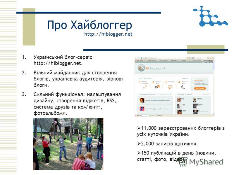 Про Хайблоггер http://hiblogger.net 1.Український блог-сервіс http://hiblogger.net. 2.Вільний майданчик для створення блогів, українська аудиторія, зіркові блоги. 3.Сильний функціонал: налаштування дизайну, створення віджетів, RSS, система друзів та