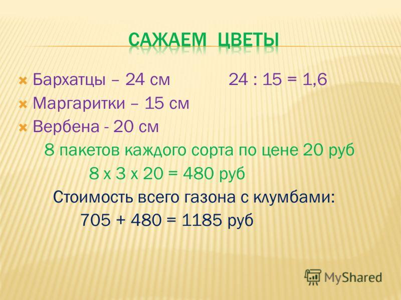 Бархатцы – 24 см 24 : 15 = 1,6 Маргаритки – 15 см Вербена - 20 см 8 пакетов каждого сорта по цене 20 руб 8 х 3 х 20 = 480 руб Стоимость всего газона с клумбами: 705 + 480 = 1185 руб
