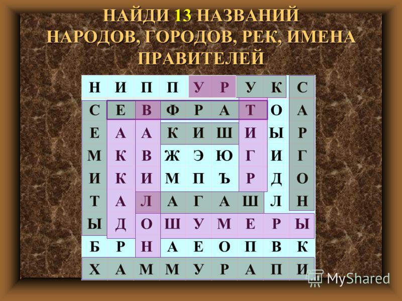 НАЙДИ 13 НАЗВАНИЙ НАРОДОВ, ГОРОДОВ, РЕК, ИМЕНА ПРАВИТЕЛЕЙ НИППУРУКС СЕВФРАТОА ЕААКИШИЫР МКВЖЭЮГИГ ИКИМПЪРДО ТАЛАГАШЛН ЫДОШУМЕРЫ БРНАЕОПВК ХАММУРАПИ