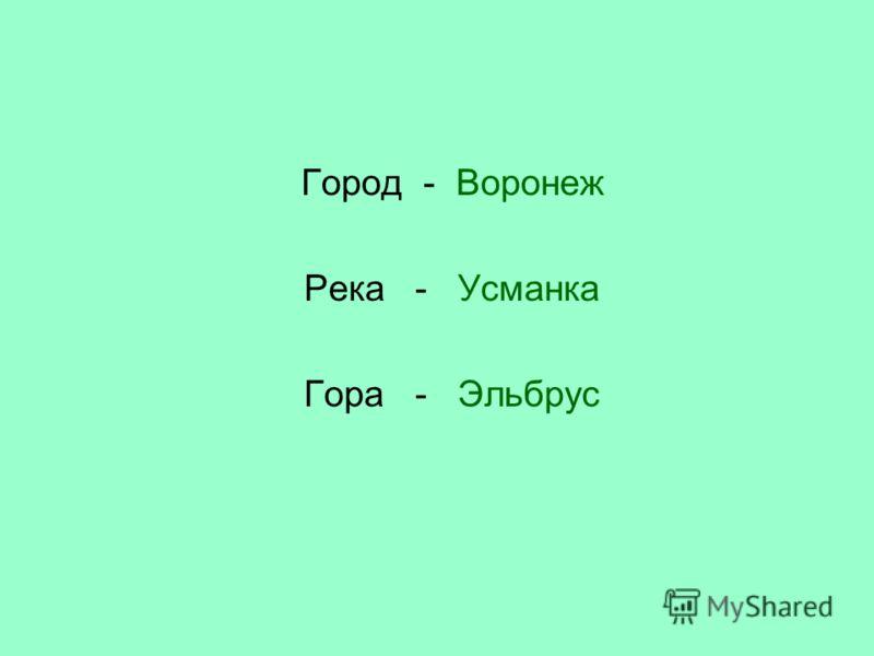 Город - Воронеж Река - Усманка Гора - Эльбрус