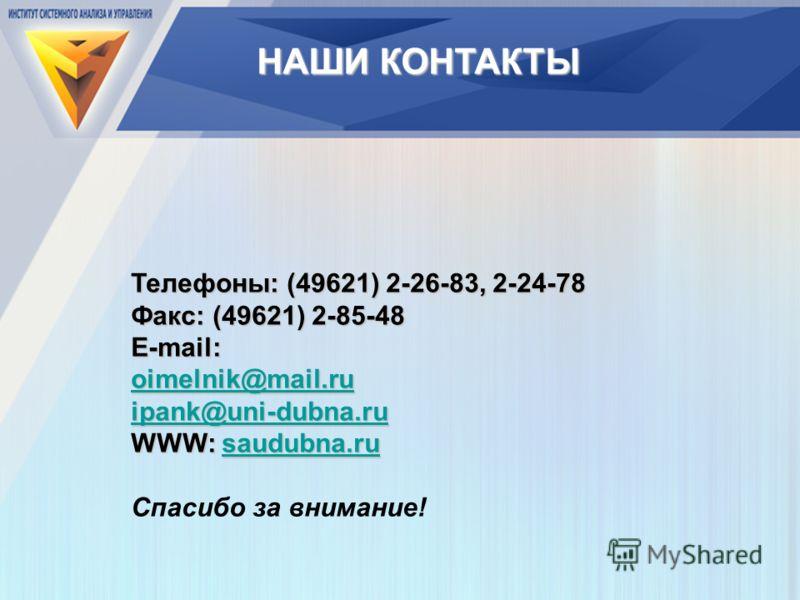 Телефоны: (49621) 2-26-83, 2-24-78 Факс: (49621) 2-85-48 E-mail: oimelnik@mail.ru ipank@uni-dubna.ru WWW: saudubna.ru saudubna.ru Спасибо за внимание! НАШИ КОНТАКТЫ