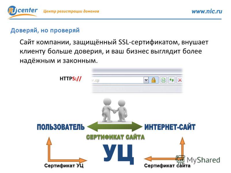 12 Доверяй, но проверяй Сайт компании, защищённый SSL-сертификатом, внушает клиенту больше доверия, и ваш бизнес выглядит более надёжным и законным. Сертификат УЦ Сертификат сайта HTTPS://