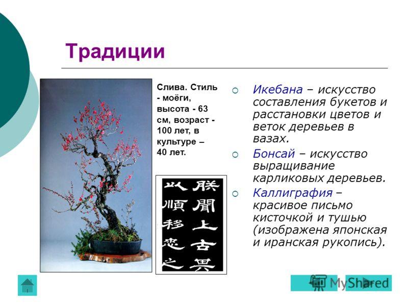 Традиции Икебана – искусство составления букетов и расстановки цветов и веток деревьев в вазах. Бонсай – искусство выращивание карликовых деревьев. Каллиграфия – красивое письмо кисточкой и тушью (изображена японская и иранская рукопись). Слива. Стил