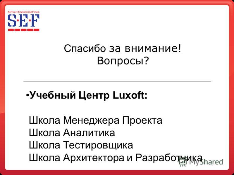 Спасибо за внимание! Вопросы? Учебный Центр Luxoft: Школа Менеджера Проекта Школа Аналитика Школа Тестировщика Школа Архитектора и Разработчика