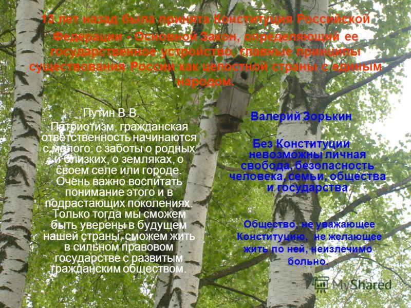 13 лет назад была принята Конституция Российской Федерации - Основной Закон, определяющий ее государственное устройство, главные принципы существования России как целостной страны с единым народом. Путин В.В. Патриотизм, гражданская ответственность н