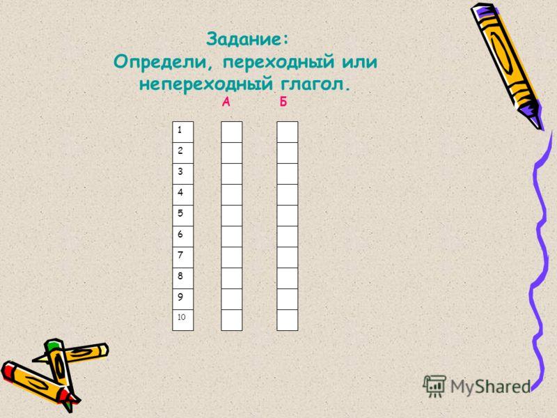 1 2 3 4 5 6 7 8 9 10 Задание: Определи, переходный или непереходный глагол. А Б