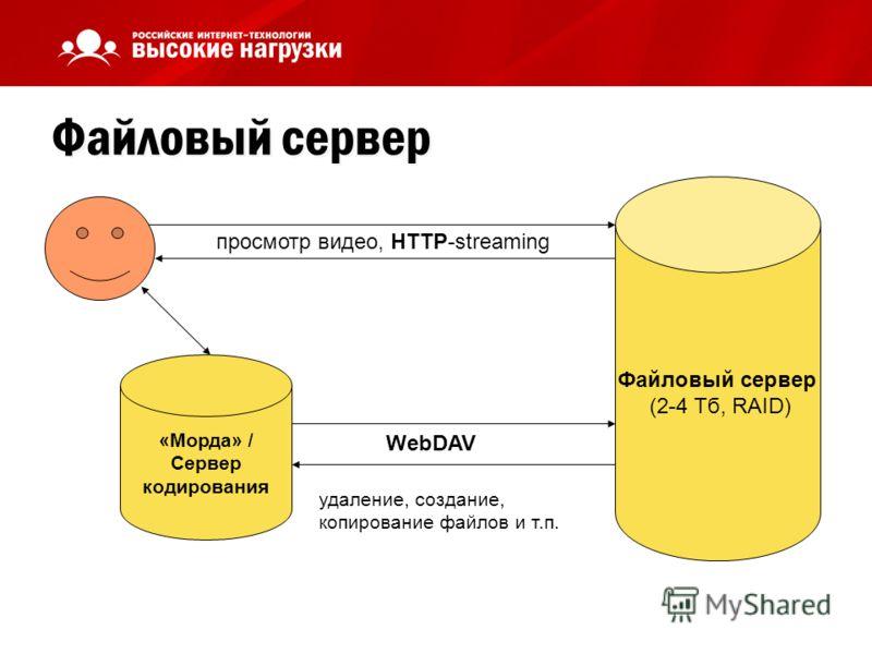 Файловый сервер Файловый сервер (2-4 Тб, RAID) просмотр видео, HTTP-streaming «Морда» / Сервер кодирования WebDAV удаление, создание, копирование файлов и т.п.