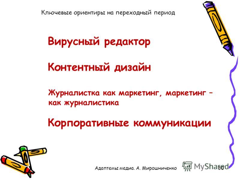 Ключевые ориентиры на переходный период 30Адаптемы медиа. А. Мирошниченко Контентный дизайн Вирусный редактор Журналистка как маркетинг, маркетинг – как журналистика Корпоративные коммуникации