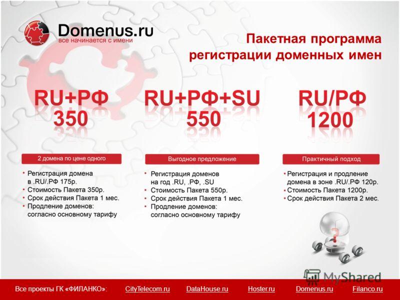 Пакетная программа регистрации доменных имен Все проекты ГК «ФИЛАНКО»: CityTelecom.ru DataHouse.ru Hoster.ru Domenus.ru Filanco.ru