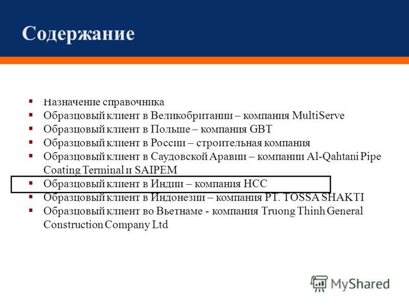 Содержание Назначение справочника Образцовый клиент в Великобритании – компания MultiServe Образцовый клиент в Польше – компания GBT Образцовый клиент в России – строительная компания Образцовый клиент в Саудовской Аравии – компании Al-Qahtani Pipe C