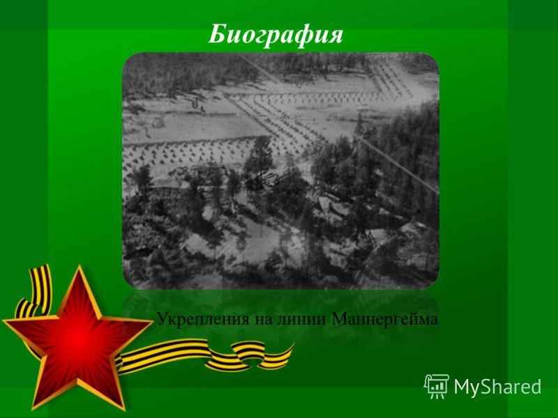 Биография Укрепления на линии Маннергейма