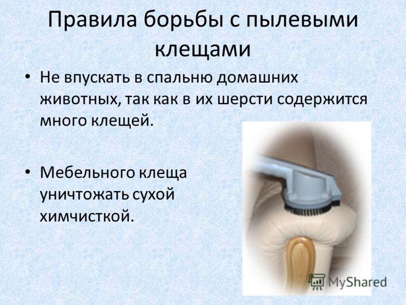 Правила борьбы с пылевыми клещами Не впускать в спальню домашних животных, так как в их шерсти содержится много клещей. Мебельного клеща уничтожать сухой химчисткой.