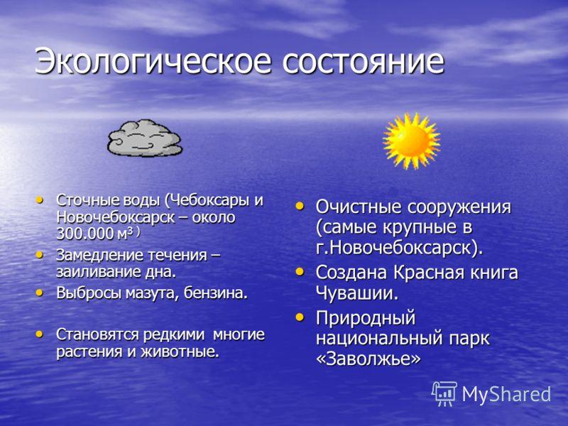 Экологическое состояние Сточные воды (Чебоксары и Новочебоксарск – около 300.000 м 3 ) Сточные воды (Чебоксары и Новочебоксарск – около 300.000 м 3 ) Замедление течения – заиливание дна. Замедление течения – заиливание дна. Выбросы мазута, бензина. В