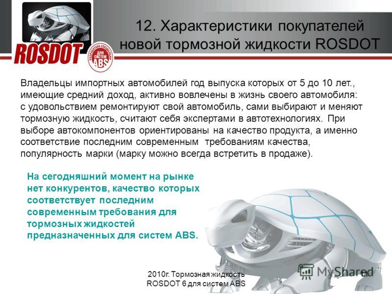 2010г. Тормозная жидкость ROSDOT 6 для систем ABS 11 12. Характеристики покупателей новой тормозной жидкости ROSDOT Владельцы импортных автомобилей год выпуска которых от 5 до 10 лет., имеющие средний доход, активно вовлечены в жизнь своего автомобил