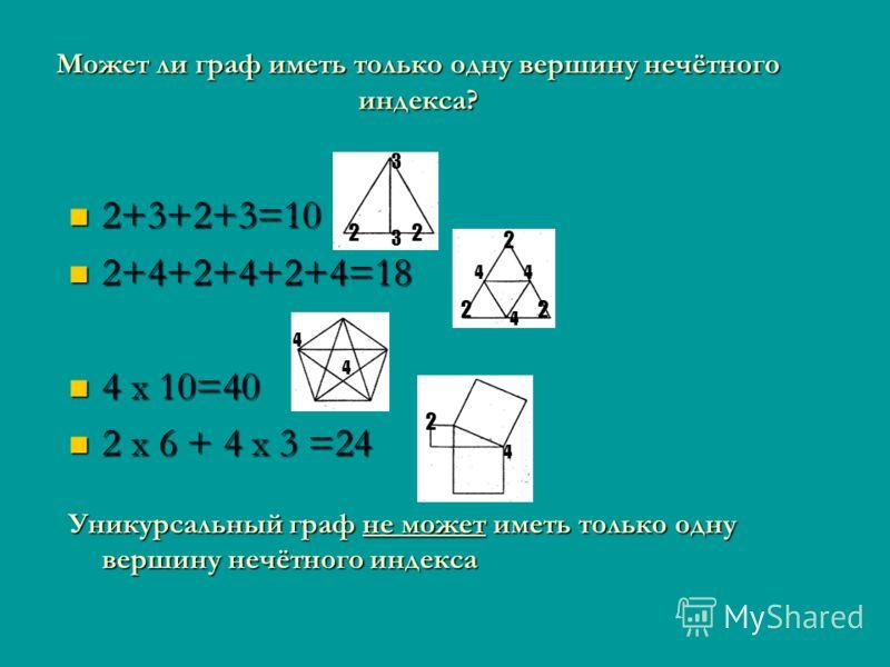 Может ли граф иметь только одну вершину нечётного индекса? 2+3+2+3=10 2+3+2+3=10 2+4+2+4+2+4=18 2+4+2+4+2+4=18 4 x 10=40 4 x 10=40 2 x 6 + 4 x 3 =24 2 x 6 + 4 x 3 =24 Уникурсальный граф не может иметь только одну вершину нечётного индекса 3 3 22 2 22