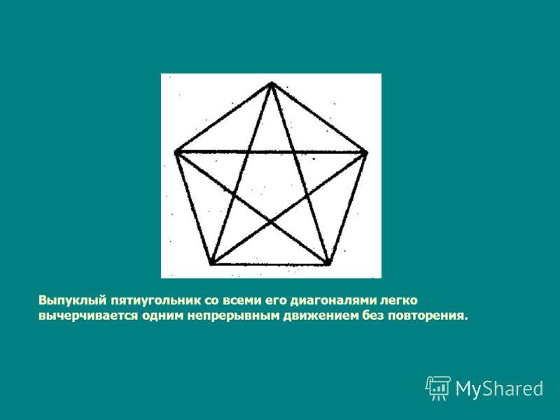 Выпуклый пятиугольник со всеми его диагоналями легко вычерчивается одним непрерывным движением без повторения.
