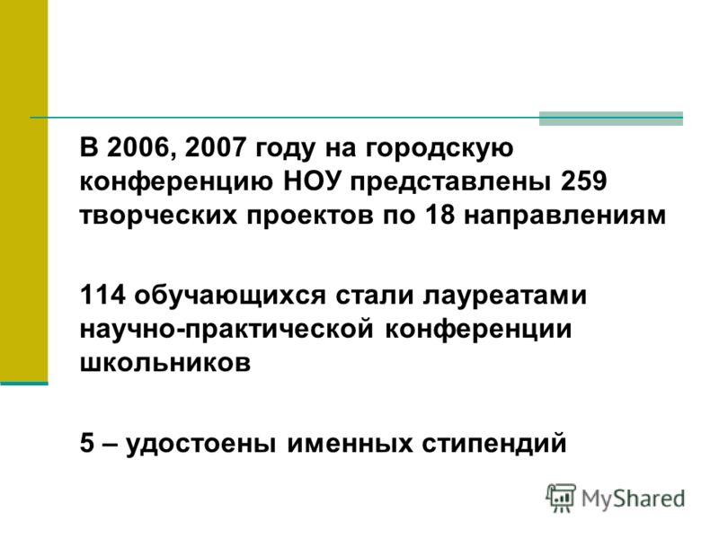 В 2006, 2007 году на городскую конференцию НОУ представлены 259 творческих проектов по 18 направлениям 114 обучающихся стали лауреатами научно-практической конференции школьников 5 – удостоены именных стипендий