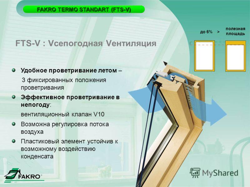 FAKRO TERMO STANDART (FTS-V) FAKRO TERMO STANDART (FTS-V) до 6% > полезная площадь Удобное проветривание летом – 3 фиксированных положения проветривания Эффективное проветривание в непогоду: вентиляционный клапан V10 Возможна регулировка потока возду