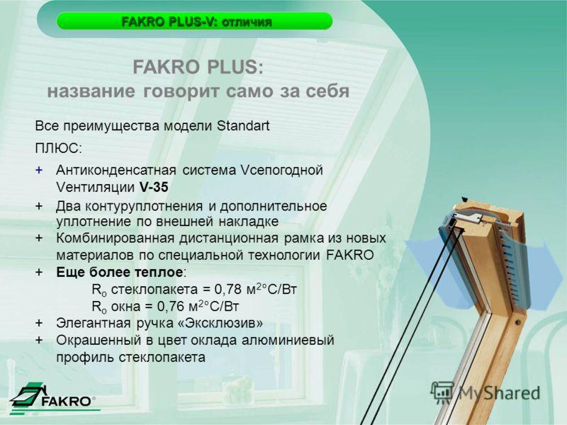 FAKRO PLUS-V: отличия FAKRO PLUS-V: отличия Все преимущества модели Standart ПЛЮС: +Антиконденсатная система Vсепогодной Vентиляции V-35 +Два контуруплотнения и дополнительное уплотнение по внешней накладке +Комбинированная дистанционная рамка из нов