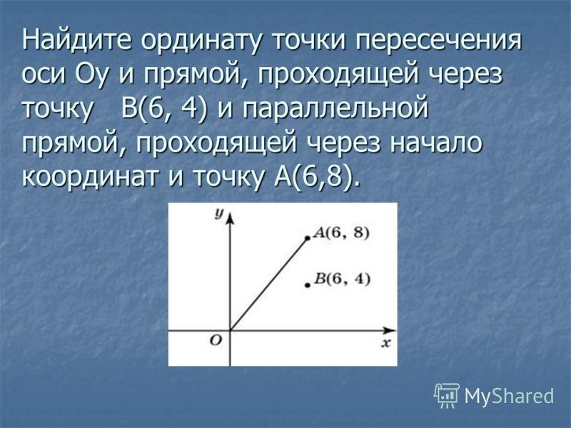 Найдите ординату точки пересечения оси Oy и прямой, проходящей через точку B(6, 4) и параллельной прямой, проходящей через начало координат и точку A(