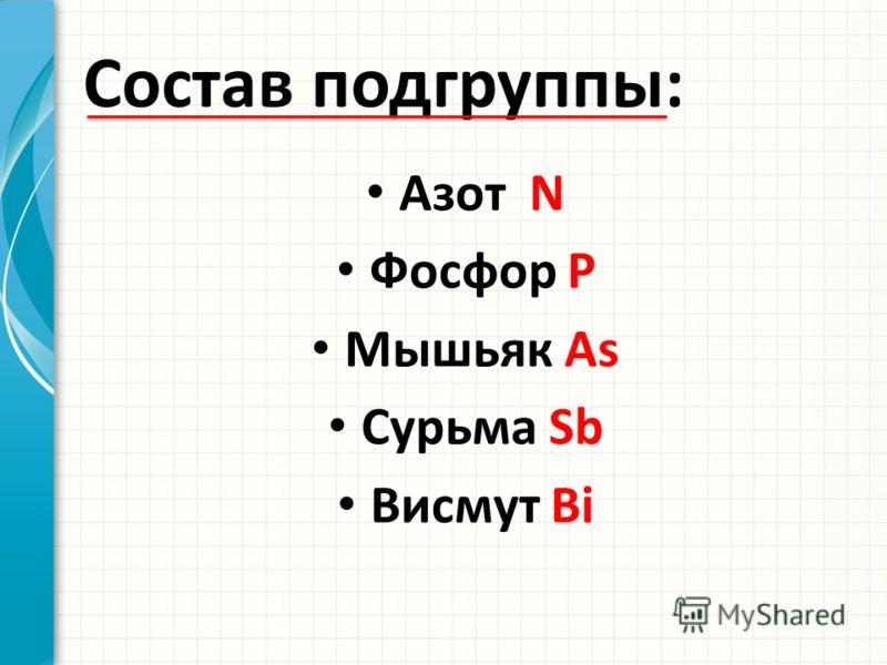 Состав подгруппы: Азот N Фосфор P Мышьяк As Сурьма Sb Висмут Bi