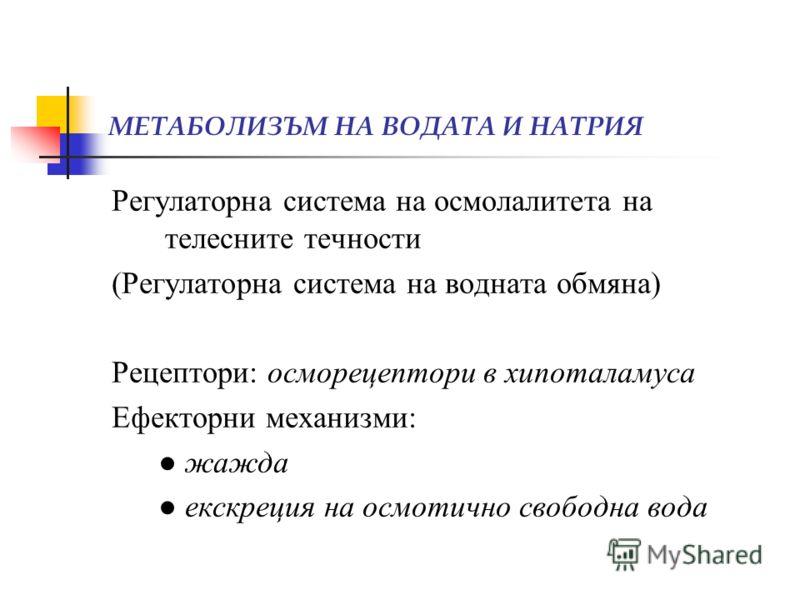 МЕТАБОЛИЗЪМ НА ВОДАТА И НАТРИЯ Регулаторна система на осмолалитета на телесните течности (Регулаторна система на водната обмяна) Рецептори: осморецептори в хипоталамуса Ефекторни механизми: жажда екскреция на осмотично свободна вода