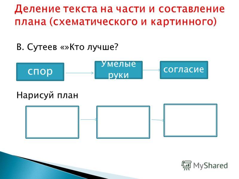 В. Сутеев «»Кто лучше? Нарисуй план Умелые руки спор согласие