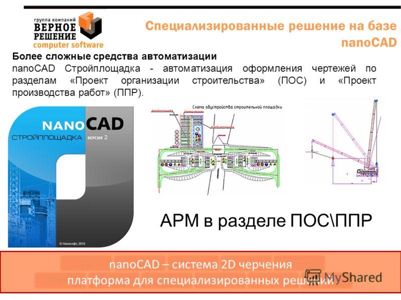 Более сложные средства автоматизации nanoCAD Стройплощадка - автоматизация оформления чертежей по разделам «Проект организации строительства» (ПОС) и «Проект производства работ» (ППР). DWGAPI Язык (VB, LISP) COM Интерфейс Команды Приложения Интеграци