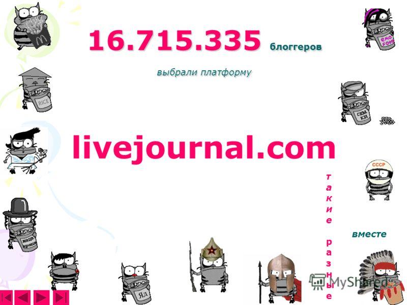 16.715.335 блоггеров выбрали платформу livejournal.com такие разныетакие разные вместе