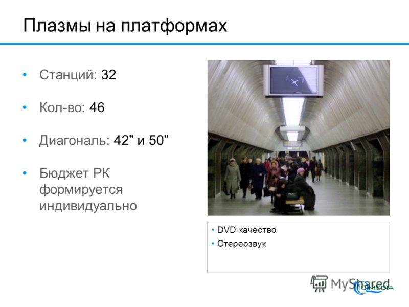 Плазмы на платформах Станций: 32 Кол-во: 46 Диагональ: 42 и 50 Бюджет РК формируется индивидуально DVD качество Стереозвук